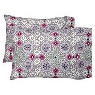 Flower Press Pillowcases, Grey Multi, Set Of Two, Standard