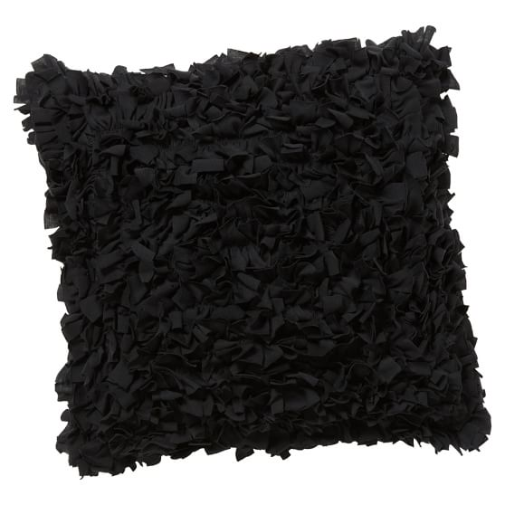 Shaggy Tee Pillow Cover, 16x16, Black