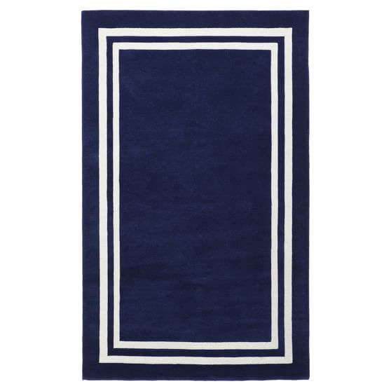 Decorator Border Rug, Royal Navy, 3x5