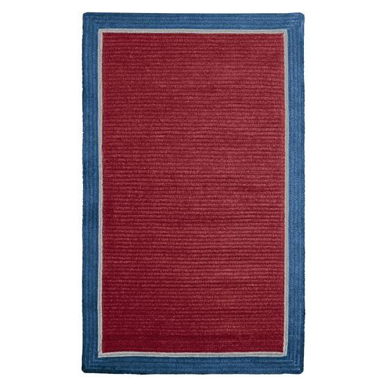 Capel Border Rug, 3x5, Dark Red/Classic Blue