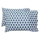 Ikat Dot Organic Pillowcases, Standard, Set of 2, Navy