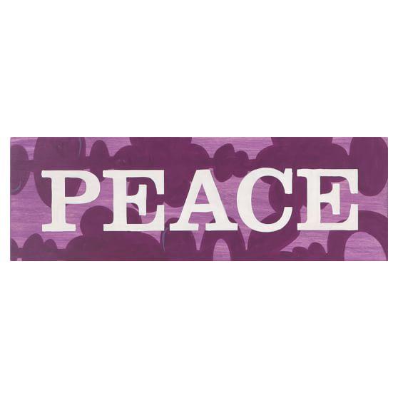 Word Plaque, Peace, Purple