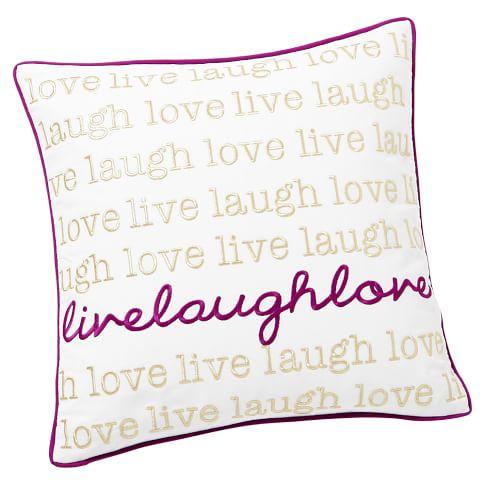 Metallic Inspiration Pillow Cover, 16x16, Live Laugh Love