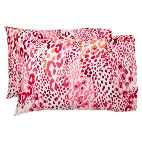 Cheetah Pillowcases, Pink Multi, Set Of Two, Standard