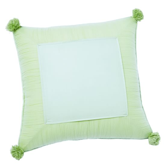 Crinkle Puff Toss Pillow Cover, Pale Green