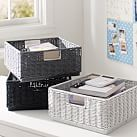Stackable Wicker Bins, Black/White/Gray