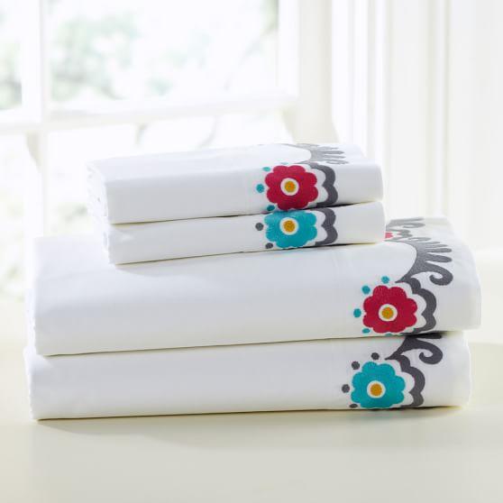 Suzani Cuff Sheet Set, Pink Multi, Full