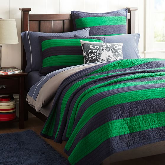 Rugby Stripe Quilt Twin Navy Bright Green Pbteen