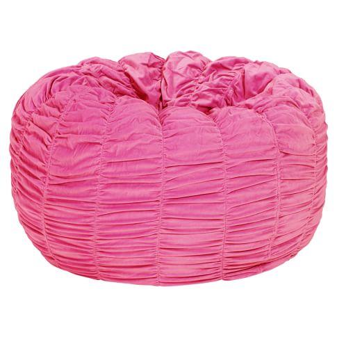 Pink Ruched Velvet Beanbag, Slipcover Only