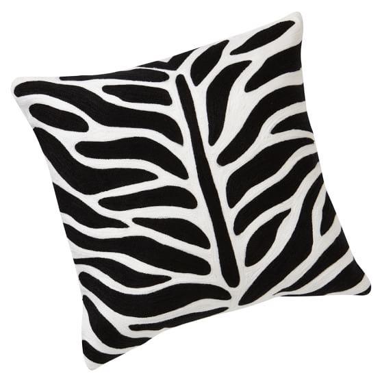 Zebra Crewel Pillow Cover, Black, 16x16