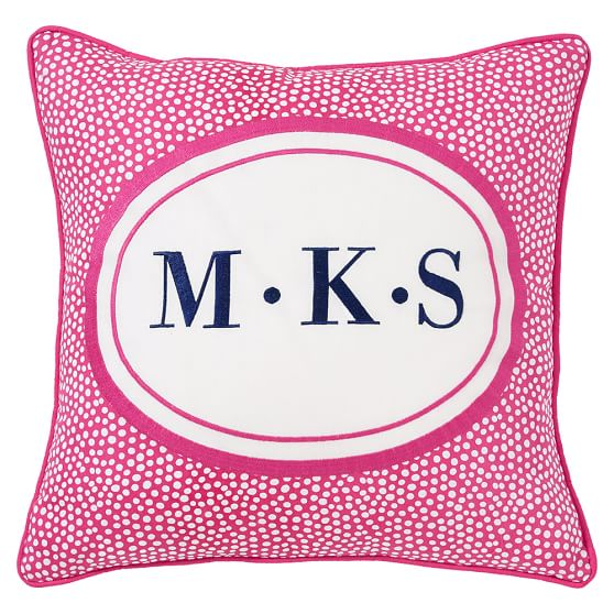 Dorm Monogram Pillow Cover, 16x16, Pink Magenta Mini Dot
