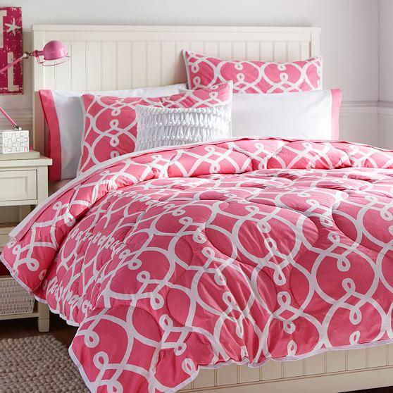 Totally Trellis Comforter, Full/Queen, Bright Pink
