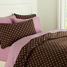 Tonal Dottie Duvet Cover, Twin, Coffee/Light Mauve