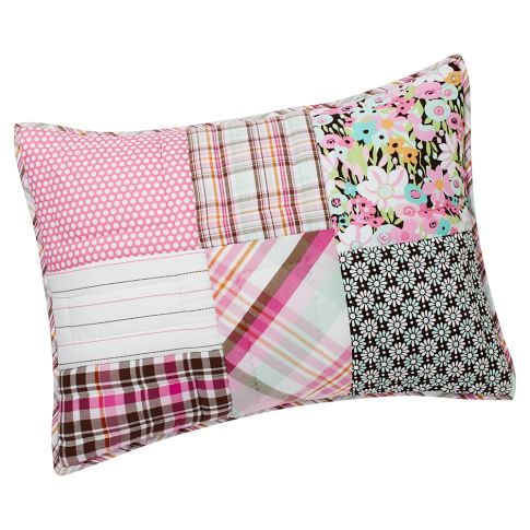 Boho Patchwork Sham, Standard, Pink Multi