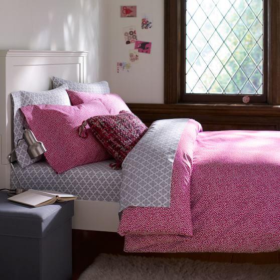 Mini Dot Duvet Cover, Twin, Pink Magenta