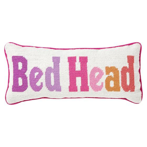 Sleep Sayings Needlepoint Pillow, Bed Head