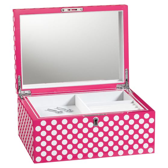 Perfectly Prep Jewelry Box, Large, Pink Magenta Dottie