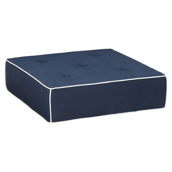 Cushy Lounge Ottoman, Twill (Navy with White)
