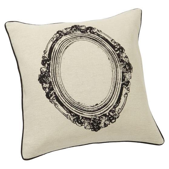 Grain Sack Frame Pillow Cover, Black, 18x18