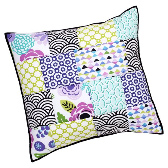 Abby Floral Patchwork Euro Sham, Cool