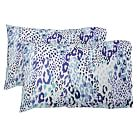 Cheetah Pillowcases, Blue Multi, Set Of Two, Standard
