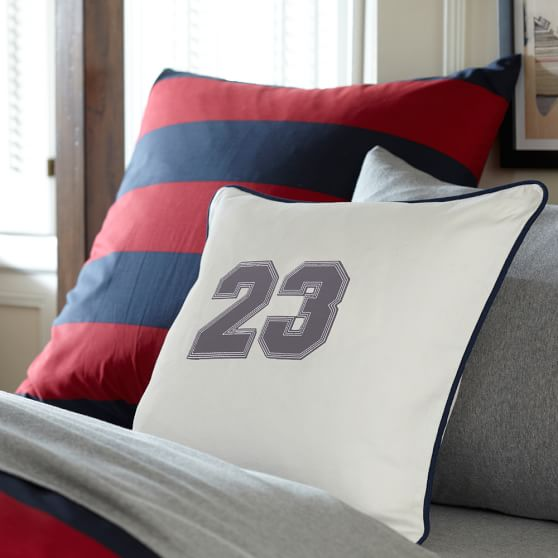 Varsity Applique Pillow Cover, Charcoal Applique Numbers