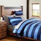 Rugby Stripe Duvet, Twin, Navy/ Blue