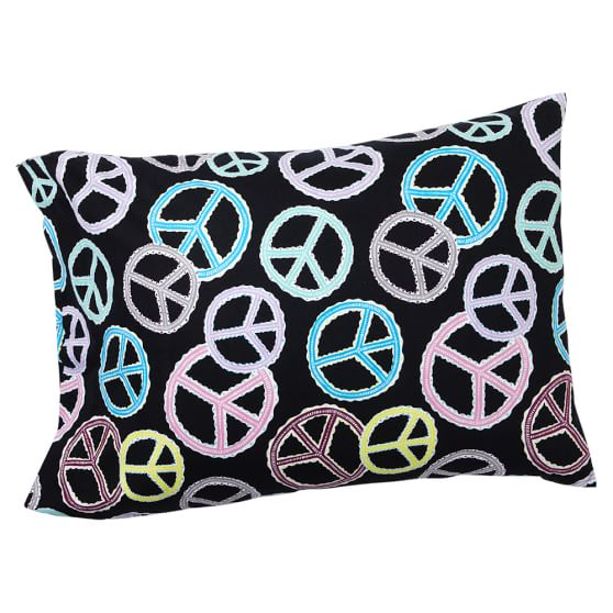 Peace Out Pillowcase, Standard, Black