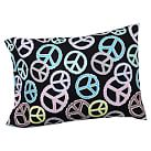 Peace Out Flannel Pillowcases, Set of 2, Black Multi