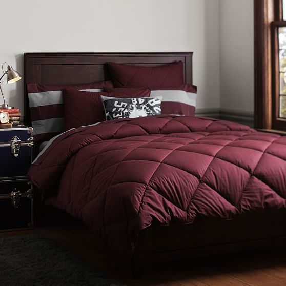 Solid Comforter + Sham, Full/Queen, Burgandy