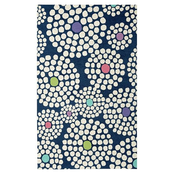Snowball Dot Rug, 3x5, Navy/Multi