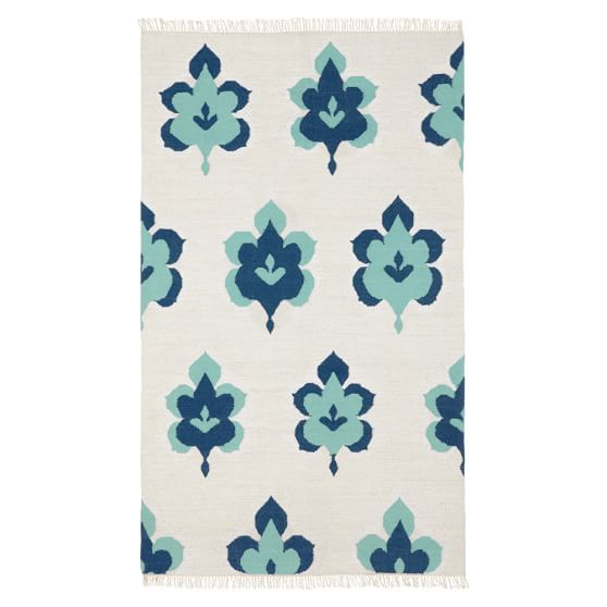 Leaf Medallion Lurex Rug, 3x5, Pool/Navy