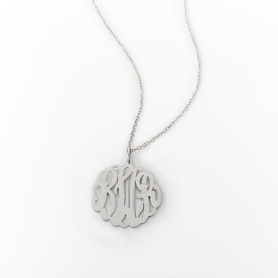 Monogram Cursive Pendant, Silver
