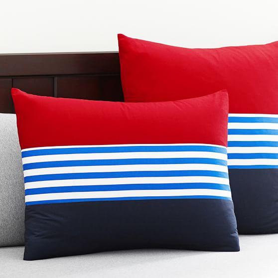 Nantucket Stripe Duvet Cover, Standard Sham, Navy/Red