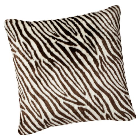 Fur Pillow Cover, 26x26, Zebra