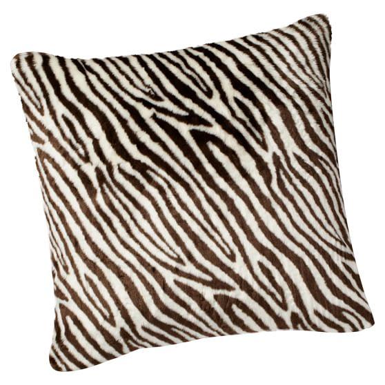 Fur Pillow Cover, 26x26, Zebra