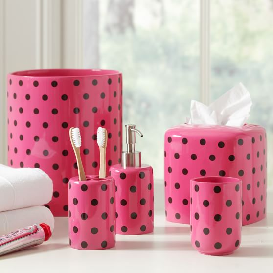 Dottie Tissue Box, Dark Pink/Coffee
