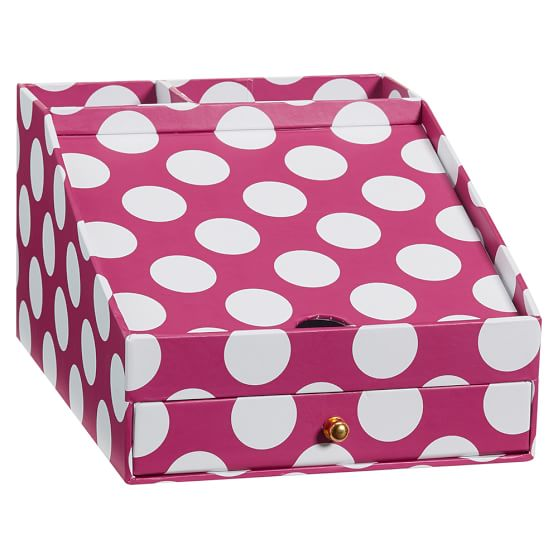 Printed Desk Accessories, Phone Charging Station, Pink Dottie