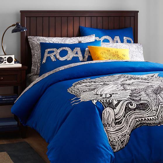 Arte Sempre Tiger Duvet + Sham, Full/Queen, Blue
