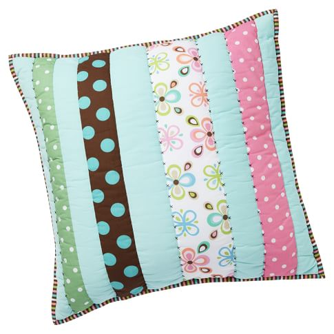 Peace Patchwork Sham, Euro, Pool with Multi