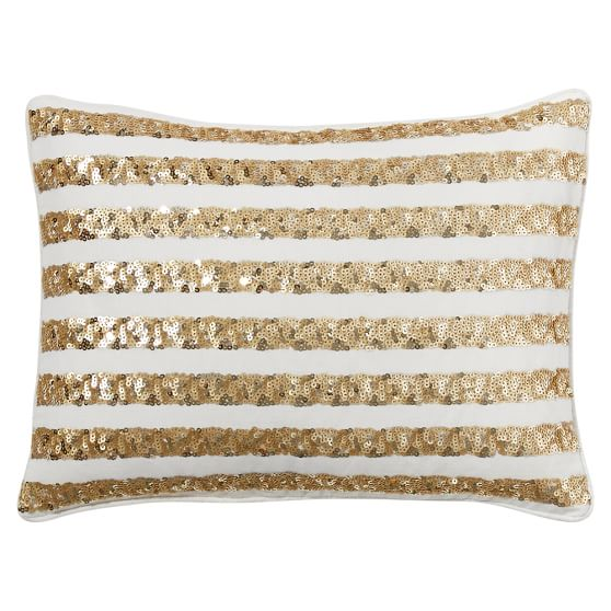 The Emily & Meritt The Sequin Pillow Cover, 12x16, Stripe Gold