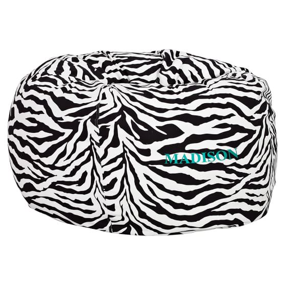 Classic Zebra Printed Beanbag Slipcover + Beanbag Insert