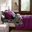 Ruched Duvet Cover, Twin, Plum