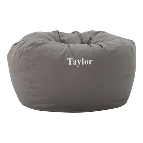 Charcoal Washed Twill Large Beanbag Slipcover + Beanbag Insert