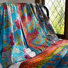 Kantha Cloth Coverlet Quilt, 60x80, Cool