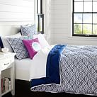 Quincy Scallop Super Pouf Comforter, Full/Queen, Royal Navy