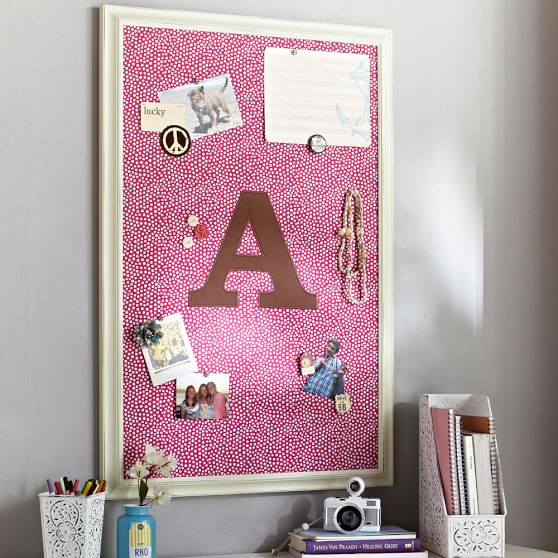 Pink Magenta + Coffee Framed Vertical Pinboard