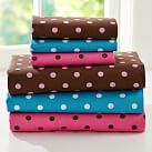 Tonal Dottie Sheet Set, Twin/Twin XL, Dark Pink/Coffee