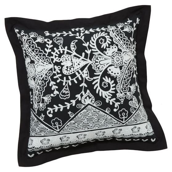 Natalia Pillow Cover, 18x18, Black