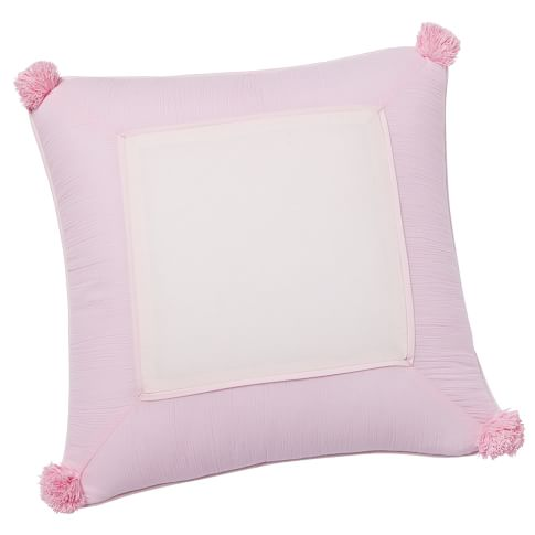 Crinkle Puff Toss Pillow Cover, Pale Pink